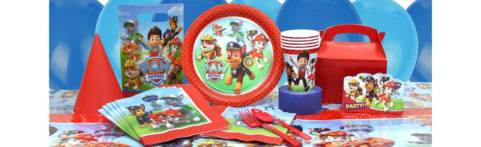 Bērnu dzimšanas diena Ķepu patruļa (Paw Patrol) stilā - dekorācijas, trauki, galda piederumi, baloni ar hēliju, aksesuāri