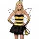 Костюм медовой пчёлки, жёлтый с чёрным, платье, крылья и ободок