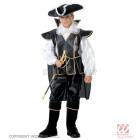 Pirata kostīms (140 cm) - krekls, mundieris ar apmetni, bikses ar apavu pārvalkiem, cepure