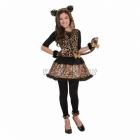 Leoparda kostīms 134 cm meitenēm, komplektā kleita ar asti, kapuce ar austiņām, bezpirkstu cimdi un legingi