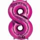 """26""""/66cm x 34""""/86cm Skaitlis 8 Folija balons Super figure Rozā"""