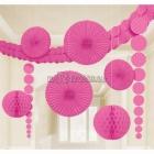 Telpu dekorēššanas komplekts - 3.6m virtene, 2x24cm papīra bumbas, 2x90cm pekaramie dekori, 2x30cm un 2x20 papira fani, rozā