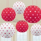 Telpu dekorēšanas komplekts Valentīna dienai, sarkani un balti papīra baloni, diam. 24cm