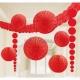 Telpu dekorēššanas komplekts - 3.6m virtene, 2x24cm papīra bumbas, 2x90cm pekaramie dekori, 2x30cm un 2x20 papira fani, sarkans