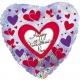 Sirds formas folijas balons Valentina Dienai - Sarkanas un Violetas Sirsniņas, ar ipašu spīdumu