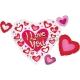 """Folijas hēlija balons """"Mīlu Tevi"""" izmērs, 104 x 66 cm,"""