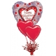 Hēlija balonu pušķis/kompozīcija Valentīndienas apsveikumiem - 3 folijas hēlija balonu ar atsvariņu