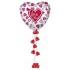 """Kompozīcija no folijas un lateksa baloniem ar hēliju Valentīndienā - Sirds no folijas ar burtiem """"I LOVE YOU"""", 80cm"""