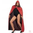 Apmetnis  ar kapuci, 140cm, divpusējs - melns/sarkans, unisex