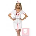 Medmāsiņas aksesuāri - cepurīte, priekšauts un kājas aksesuārs.