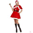 Miss Santa komplekts - samta un plīša kleita jostas apmetnis ar kapuci  izmērs S
