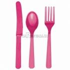 Sortiments no 24 gabaliem galda piederumiem rozā