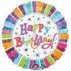 Liels folijas hēlija balons Happy Radiant Birthday, izmērs 81 cm