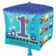 """Folijas hēlija balons kuba formā """"1. dzimšanas diena"""", zils, Cubez ™, izmērs 38 x 38 cm,"""