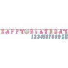 Papīra burtu virtnete 1. Dzimšanas Diena rozā krāsā. Komplektā ciparu formas uzlīmes 0-9