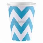 ZIGZAG Papīra glāzes, Karību jūras zila  krāsa, 256 ml, 8.gab.
