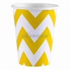ZIGZAG Papīra glāzes, Dzeltena saule krāsa, 256 ml, 8.gab.