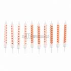 Sveces oranžas, ar punktiņu un līkloču | zigzag rakstu, ar svečturitiem, 6.3cm, 10gb