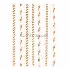 Kokteiļa papīra salmiņi, oranžas, ar punktiņu un līkloču | zigzag rakstu, 20cm,24 gab.