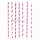 Kokteiļa papīra salmiņi, rozā, ar punktiņu un līkloču | zigzag rakstu, 20cm,24 gab.