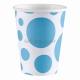 PUNKTI  Papīra glāzes, Karību jūras zila  krāsa, 256 ml, 8.gab.