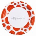PUNKTI Papīra šķivji, Oranža  krāsa, 33 cm, 8.gab.
