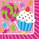 Papīra salvetes, Saldumu ballīte, izmērs - 25х25cm 16.gab.