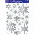 Prizmatiskās sniegpārsliņas komplekts logu dekorēšanai. Komplektā 19 sudrabas ar glitteriem sniegpārsliņas diam. 5 - 15cm