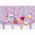 Spirāles formas piekaramie istabas dekori - Saldumu Veikals, komplektā 12gb
