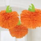 Ķirbis Helovīniem - pompona veida zīdpapīra dekorācijas komplekts, 3gb x 30.4cm