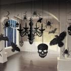 Dekorācijas komplekts Helovīniem - 17 dažādas formas un izmēra priekšmeti ar mirdzumu.