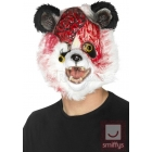 Zombija Pandas maska no putu lateksa ar kažokādu, balta ar melnu