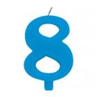 """Tortes svece staitlis """"8"""" dzirkstoša, gaiši zila/tirkīza, 9.5cm"""