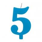 """Tortes svece staitlis """"5"""" dzirkstoša, gaiši zila/tirkīza, 9.5cm"""