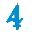 """Tortes svece staitlis """"4"""" dzirkstoša, gaiši zila/tirkīza, 9.5cm"""