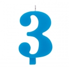 """Tortes svece staitlis """"3"""" dzirkstoša, gaiši zila/tirkīza, 9.5cm"""