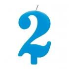 """Tortes svece staitlis """"2"""" dzirkstoša, gaiši zila/tirkīza, 9.5cm"""