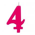 """Tortes svece staitlis """"4"""" dzirkstoša, fuksija, 9.5 cm"""