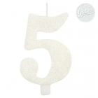 "Tortes svece skaitlis ""5"", balta, spīdīga,  9.5 cm"