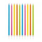 Garās tortes svecītes (15.5 cm)  (daudzkrāsains ar spīdumu) (10.gab)