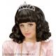 Melnā krāsā  meitenes parūka karnevālam un tiara