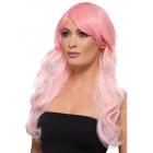 Ombre parūka, rozā, viļņota, gara, karstumizturīga, sintetika