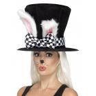 Zaķa cepure, cilindrs, melnbaltā krāsā ar pievienotām zaķa ausīm