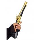 Reālistiska pirātu pistole, melna ar zeltu, 30 cm