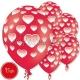 "Baloni ar apdruku - SIRSNIŅAS - Pastelis, 12""/30cm, 15 gab., sarkani"
