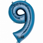 """26""""/66cm x 34""""/86cm Skaitlis 9 Folija balons Super figure Zilā"""