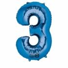 53cm x 88cm Skaitlis 3 Folija balons Super figure Zilā