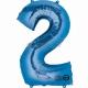 """26""""/66cm x 34""""/86cm Skaitlis 2 Folija balons Super figure Zilā"""
