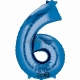 """26""""/66cm x 34""""/86cm Skaitlis 6 Folija balons Super figure Zilā"""