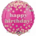 Dzimšanas diena apaļais  folija balons  ar punktiem 45 cm